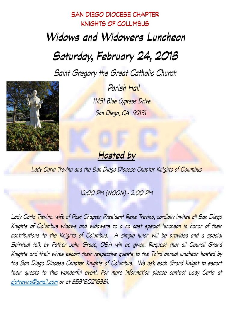 Widows and Widowers Luncheon 24 Feb 2018 - flyer